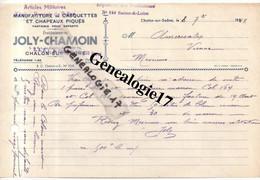 71 0254 CHALON SUR SAONE LOIRE 1940 Manufacture De Casquettes Et  Chapeaux JOLY - CHAMOIN  - Art Militaire Kepi P - Textile & Vestimentaire