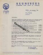 75 19650 PARIS SEINE 1952 Aluminium Sport Camping ALUNIVERS Signe PHILIPPSON Avenue Bourdonnais A BERNARD - 1900 – 1949