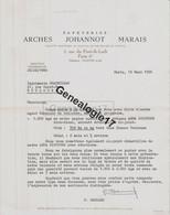 75 19042 PARIS SEINE MARSEILLE 1956 Papeteries ARCHES JOHANNOT MARAIS Ppaeterie Rue Du Pont De Lodi Signe BERNARD - Drukkerij & Papieren