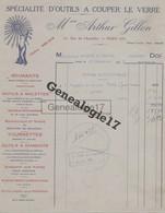 75 16392 PARIS SEINE 1938 Outils A Couper Le Verre ARTHUR GILLON Rue De L Acqueduc DIAMANTS MOLETTES TOURNETTES - 1900 – 1949