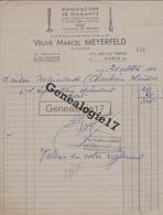 75 14242 PARIS SEINE 1950 Manufacture De Diamants VEUVE MARCEL MEYERFELD Rue Du Temple DIAMANT COUPE VERRE - 1900 – 1949