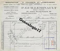 75 10007 PARIS SEINE 1947 Manufacture De Couverts Et  Orfevrerie P. GUILLEMINAULT Ave Philippe Auguste - ENCRIER - 1900 – 1949