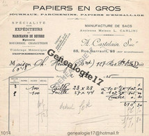 75 11455 PARIS SEINE 1925 Papier Manufacture Sac A. CASTELAIN Succ L. CARLINI 88 Rue Barrault - Marchand De Beurre - Printing & Stationeries