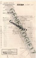 76 0150 ROUEN Banque SOCIETE GENERALE 1911 Et  Sige à PARIS 54/56 Rue De Provence - Bank & Insurance