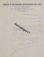 75 20775 PARIS SEINE 18.. Fabrique Photograhie Microscopique Sur Verre LECARPENTIER Succ ARNOULT - LEPINE Rue Lhomond - 1800 – 1899