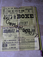 99 0354 AFFICHE DE GALA DE BOXE  A LA BOURBOULE 1949 Mrs MICKEY LAURENT ARCHAMBAULT JEAN CHARTIER JULES  Dim 77X60 - Affiches