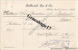 96 1001 ALLEMAGNE DEUTSCHLAND BERLIN 1903  Bank DELBRUCK LEO AND Co ( Delbrùck ) W66 Mauer Strasse - Banco & Caja De Ahorros