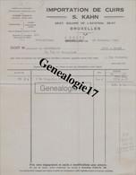 96 0238W BELGIQUE BRUXELLES 1928 Importation De Cuirs Tannerie D ASSCHE  Mr S. KAHN  25/27 Square De L Aviation BRUXELLE - Zonder Classificatie