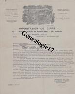96 0237W BELGIQUE BRUXELLES 1928 Importation De Cuirs   Tannerie D ASSCHE  S. KAHN  25/27 Square De L Aviation Des - Zonder Classificatie