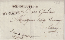 """FRANCE : DE """" BONNEVILLE """" .  POUR ANNECY . DATEE DE SAMOENS . 1833 . - 1801-1848: Precursores XIX"""