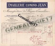 93 0023 AUBERVILLIERS Manufacture De Plaques Emaillees EDMOND JEAN 1911 41 Bd De Stains - Non Classés
