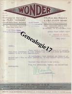 93 0452 SAINT OUEN SEINE 1929  PILES WONDER Des Ets COURTECUISSE - RICHEZ 77 Rue Des Rosiers à DIARD - 1900 – 1949