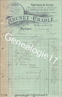 N 61 MORTAGNE ORNE 1905 Fabrique De Sirops BRUNET CHABLE Bieres Eau Seltz Rue Du Mail à MARIN De Sainte Scolasse Sarthe - Europe