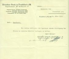 "Frankfurt 1936 Deko Rechnung /Kopf "" Dresdner Bank Depositenkasse B Roßmarkt 14 "" - Banco & Caja De Ahorros"