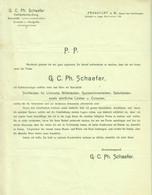 """Frankfurt 1908 Deko Rechnung /Kopf """" G.C.Ph.Schäfer Holz Kehlleisten Consolen Handgriffe Geschäftseröffnung """" - Trasporti"""
