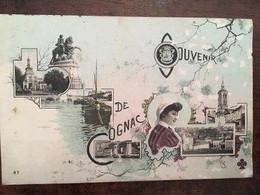 Cpa De 1907, Souvenir De Cognac (16), Multivues,éd Trèfle CCCC, Verso 2 Timbres Taxe 5 Ctes, écrite - Cognac