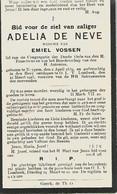 Souvenir Mortuaire DE NEVE Adelia (1839-1925) Wwe VOSSEN, E. Geboren Te NEYGE Overleden Te ONZE-LIEVE-VROUW-LOMBEEK - Andachtsbilder