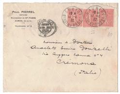 LA109   France 1932 Lettre De Auriol à Cremona Italie  3x 50c Semeuse - 1903-60 Sower - Ligned