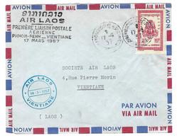 ⭐ Cambodge - Première Liaison Postale Aérienne Phnom - Penh _ Vientiane Le 17 Mars 1957 - Cachet Air Laos - 1957 ⭐ - Kambodscha