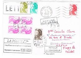 ENVELOPPE DOUBLEMENT TAXEE REFUSEE ET RETOURNEE A L'ENVOYEUR - 1960-.... Cartas