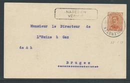 """Kaart Verstuurd Uit Molenbeek 29.1.19 Stempel """"nagezien-vérifié"""" - Covers & Documents"""