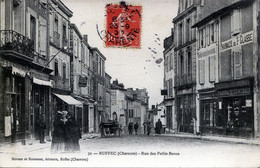 16. CHARENTE - RUFFEC - Rue Des Petits Bancs. (Epicerie Bernard, Pharmacie Centrale, Charcuterie...) - Ruffec