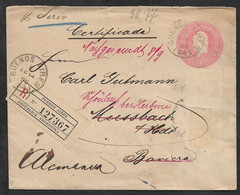 1896 AUG. 14  ARGENTINA - 5C REGISTERED POSTAL STATIONERY LETTER To NUSSBACH, GERMANY - Cartas