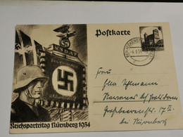 Postkarte, Reichsparteitag Nurnberg 1934. Oblitéré Benneckenstein 1934 - Enteros Postales