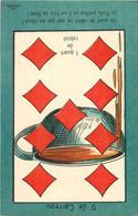 JEU DE BELOTE  : Carte à Jouer Du POILU ( 1914-1918)  : 9 De Carreau - Carte Da Gioco