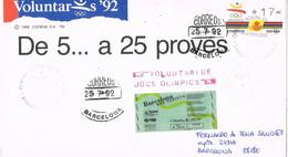 37907. Carta BARCELONA 1992. VOLUNTARIS 92. ATM, Juegos Olimpicos. Viñeta, Label La Caixa - 1991-00 Brieven