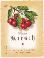 Etiquette Vieux KIRCH (Cerises) - DISTILLERIE SAGUIN - 70 - FOUGEROLLES - Fruits & Vegetables
