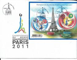 1 FDC ENVELOPPE PREMIER JOUR CHAMPIONNATS DU MONDE HALTEROPHILIE PARIS 2011 TOUR EIFFEL - WEIGHTLIFTING - Haltérophilie