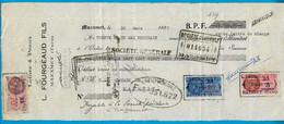 1937 :  3 Fiscaux D.A. DA (distributeurs Auxiliaires) Sur Effet De Commerce L. FOURGEAUD FILS Laines Et Peaux 81 MAZAMET - Fiscales