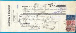 1936 :  3 Fiscaux D.A. DA (distributeurs Auxiliaires) Sur Effet De Commerce MARTINEL & ROUANET SARL 81 MAZAMET - Fiscales