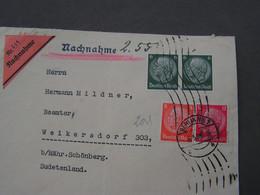 DR Cv, Dresden Nach Böhmen Möhren , Mährisch Schönberg  1938  Nachnahme - Usati