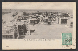 Egypt - Rare - Vintage Post Card - View Of Port Said And Entrance To The Suez Canal - 1866-1914 Khedivate Of Egypt