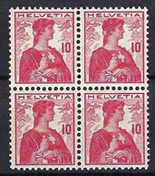 SUISSE 1909:  Bloc De 4 Du ZNr. 109,  Neufs** - Se-Tenant