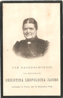 Doodsprentje Christina Leopoldina Jacobs ° Puers Puurs 1841 - 1912 - Andachtsbilder