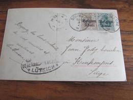 14-18: Carte Postale à 8 Centimes (5+3) Oblitérée SOUMAGNE (postal) En 18. Censure De Liège - Andere Brieven
