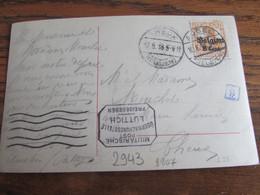 14-18: Carte Fantaisie Affranchie à 8 Cent Et Oblitérée AUBEL (à Pont) En 1918 (+ Censure De Liège) - Andere Brieven