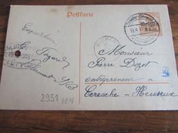 14-18: Entier Postal Affranchi à 8 Cent Et Oblitéré THIMISTER-CLERMONT (à Pont) En 1918 (+ Censure De Liège) - Guerra '14-'18