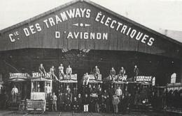 84  AVIGNON  PHOTO SUR CARTON DEPOT DE TRAMWAYS  Format 9x14 Cms ( Voir Texte Au Dos) - Avignon