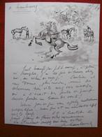 ANDRE HAMBOURG DESSIN AQUARELLE COURSES HIPPIQUES CHEVAUX LETTRE AUTOGRAPHE ILLUSTREE 1969 - Drawings