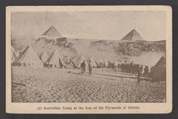 Egypt - Rare - Vintage Post Card - Australian Camp At The Pyramids - Giza - 1866-1914 Khedivate Of Egypt
