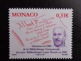 MONACO 2009 Y&T N° 2680 ** - BIBLIOTHEQUE LOUIS NOTARI - Unused Stamps