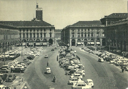 """9363"""" TORINO-PIAZZA S. CARLO """"ANIMATA-AUTO ANNI '50  - FOTO ORIGINALE-CARTOLINA NON SPEDITA - Places"""