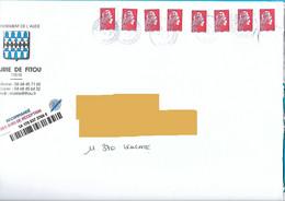8 Marianne L'engagée Lettre Prioritaire Cachet Manuel La Poste Sur Env Mairie Fitou - 2018-... Marianne L'Engagée