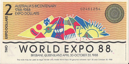 AUSTRALIA=1988   WORLD  EXPO   2  DOLLARS    UNC - Moneta Locale