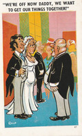"""Unused Sapphire Comic Card Holland On Sea Wedding Couple """".. We Want To Get Our Things Together!"""" - Fumetti"""