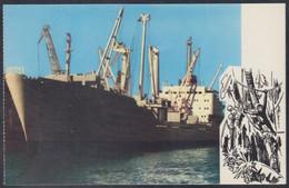 "RUSSIA POSTCARD Mint SHIP ""Harry Pollit"" BALTIC SHIPPING Leningrad CARGO BATEAU TRANSPORT Port Harbour BSCo USSR K2 - Commercio"
